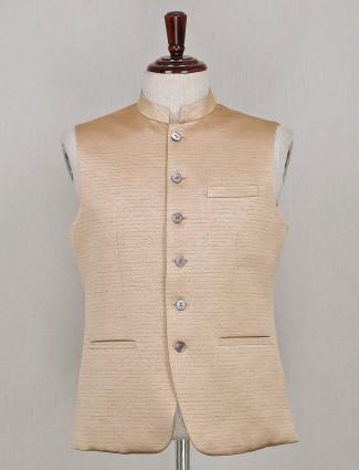Solid beige party wear silk waistcoat