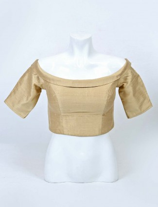 Solid beige raw silk ready made blouse