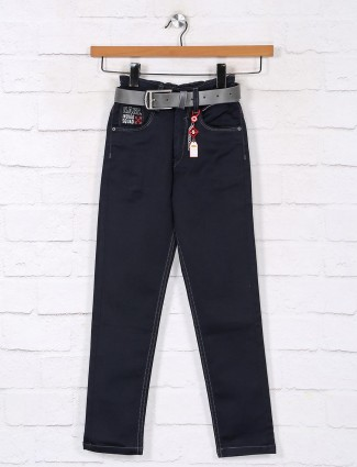 Solid black casual slim fit denim jeans