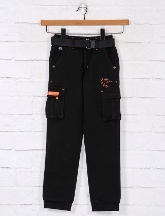 Solid black cotton cargo for boys