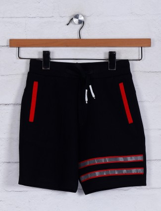 Solid black cotton casual boys shorts