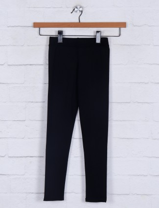 Solid black cotton casual jeggings