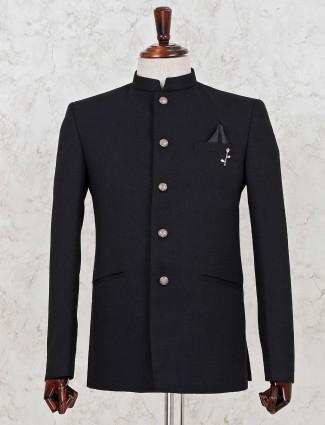 Solid black jute jodhpuri blazer