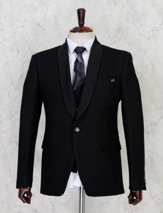 Solid black terry rayon coat suit for mens
