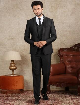 Solid black terry rayon coat suit set for men