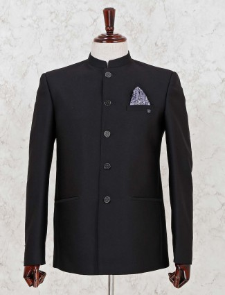 Solid black terry rayon jodhouri suit