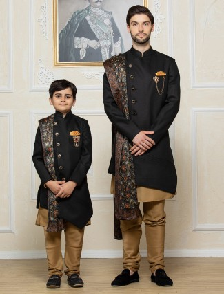 Solid black terry rayon party father son set indo western