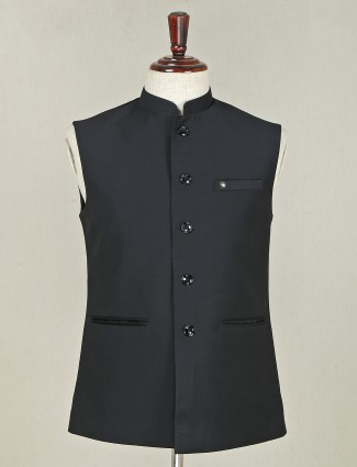 Solid black terry rayon party wear waistcoat for mens