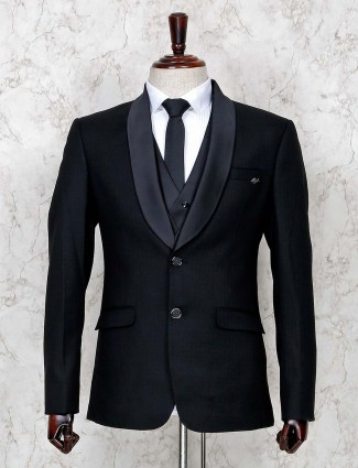 Solid black terry rayon shawl collar coat suit