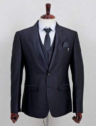 Solid black terry rayon three piece coat suit