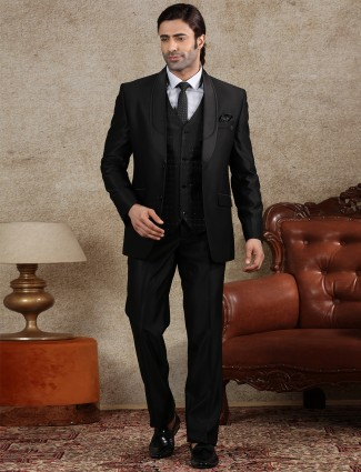 Solid black terry rayon two buttoned coat suit