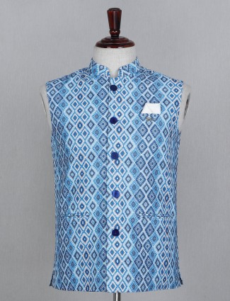 Solid blue cotton printed waistcoat
