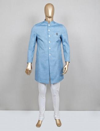 Solid blue cotton silk mens indo western
