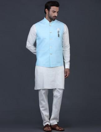 Solid blue linen solid waistcoat set