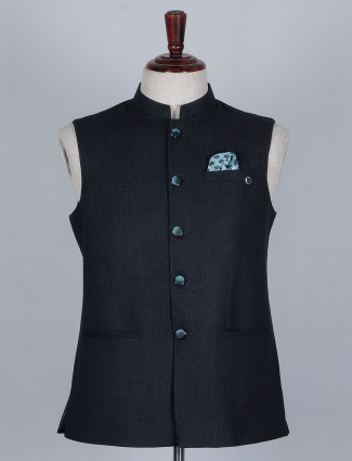 Solid blue waistcoat in terry rayon