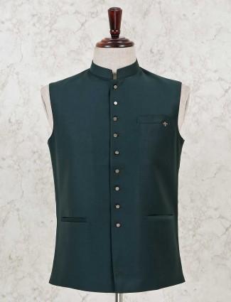 Solid bottle green classy waistcoat