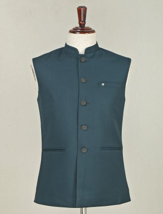 Solid bottle green terry rayon waistcoat for mens