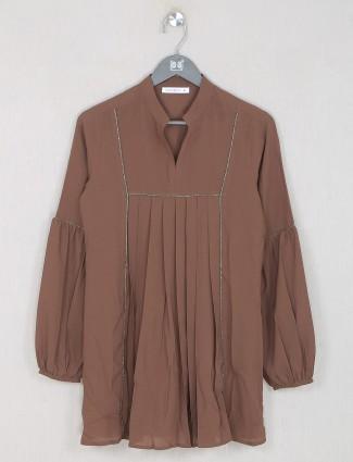 Solid brown women casual wear top