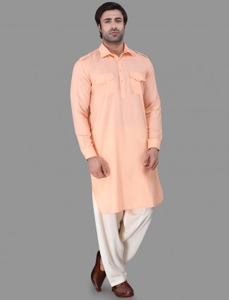 Solid festive wear peach pathani suit