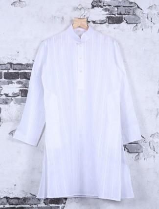 Solid festive wear white kurta suit