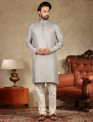 Solid grey cotton mens kurta suit