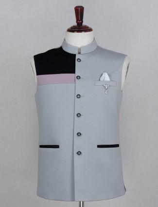 Solid grey cotton party wear mens waistcoat