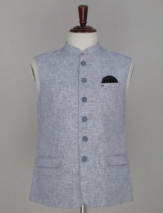Solid grey cotton waistcoat for mens
