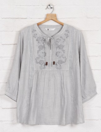 Solid grey womens top with keyhole neck