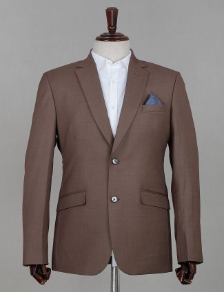 Solid light brown terry rayon coat suit