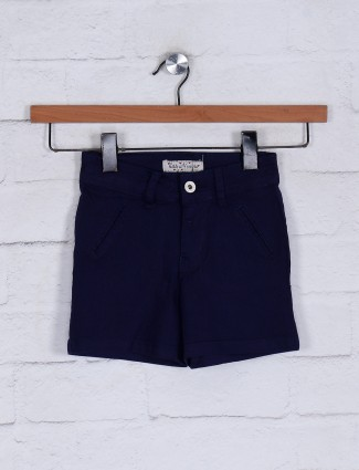 Solid navy cotton girls shorts