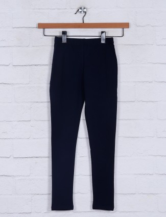 Solid navy cotton jeggings casual wear