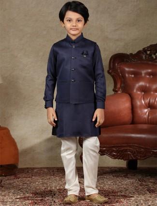 Solid navy cotton silk boys waistcoat set