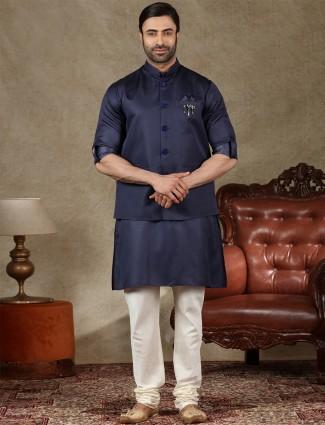 Solid navy cotton silk mens waistcoat set
