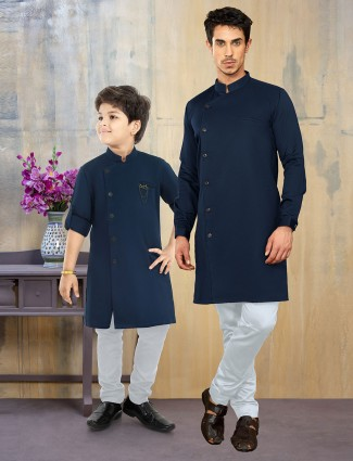 Solid navy hue cotton silk father son kurta suit