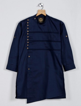 Solid navy kurta suit in cotton silk