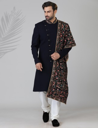 Solid navy mens indo western in terry rayon