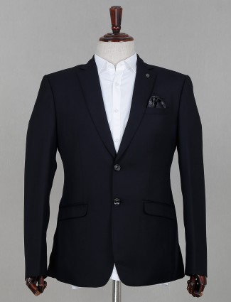 Solid navy terry rayon blazer for mens