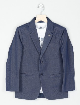 Solid navy terry rayon fabric party blazer