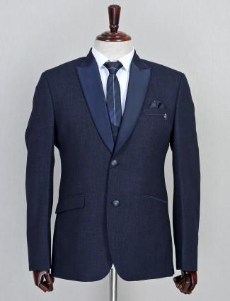 Solid navy three piece jute coat suit
