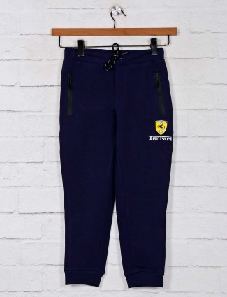 Solid navy track pant for boys