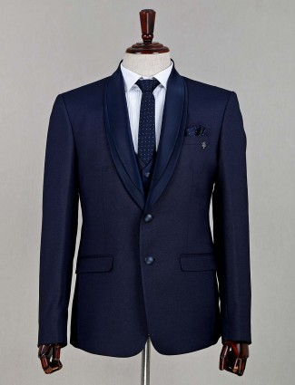 Solid navy two buttoned cotton coat suit