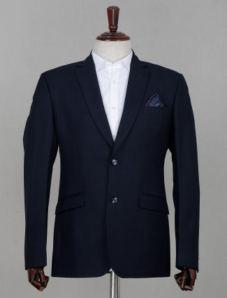 Solid navy two buttoned terry rayon coat suit