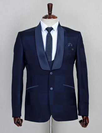 Solid navy two buttoned terry rayon three piece coat suit