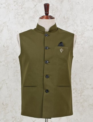 Solid olive cotton mens waistcoat