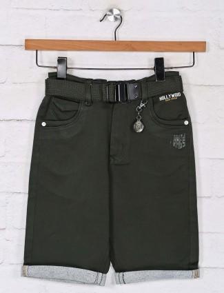 Solid olive denim shorts