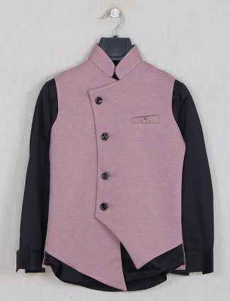 Solid onion pink terry rayon waistcoat set