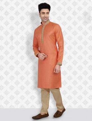 Solid orange cotton kurta suit