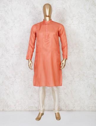 Solid orange festive wear cotton kurta suit