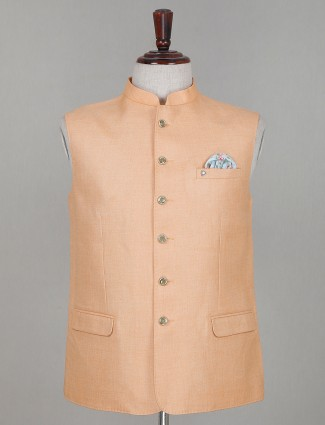 Solid peach cotton mens waistcoat for parties