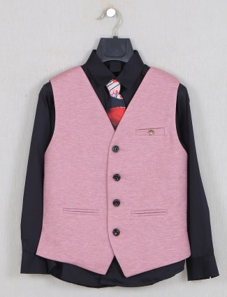 Solid pink colored boys waistcoat set